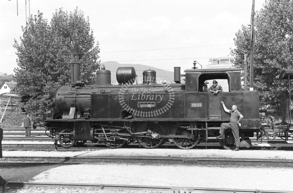 St. L.B. Steiermarkische Landesbahnen Steam Locomotive Class St. L.B. Class 130 2-6-2T 130.03  at Weiz  in 1963 -  03/09/1963  - Peter Gray