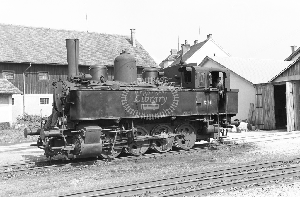 St. L.B. Steiermarkische Landesbahnen Steam Locomotive Class St. L.B. Class 178 0-8-0T (Krauss  1260/23) 178.02  at Bw. Weiz  in 1963 -  03/09/1963  - Peter Gray