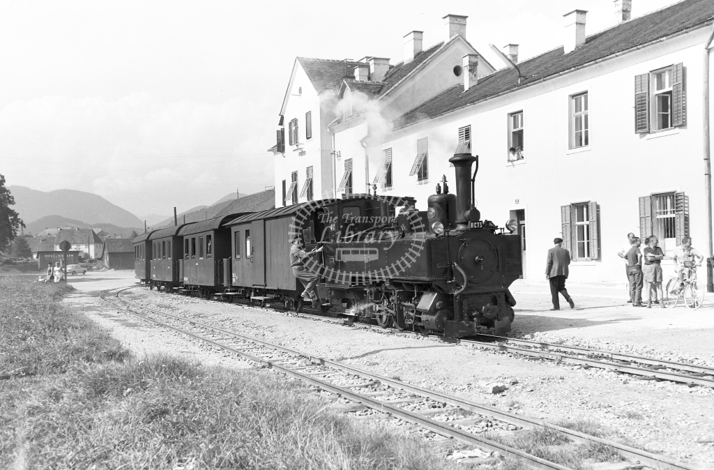 St. L.B. Steiermarkische Landesbahnen Steam Locomotive Class St. L.B. Krauss (5513/06) 0-6-2T S.12  at Weiz  in 1963 -  03/09/1963  - Peter Gray