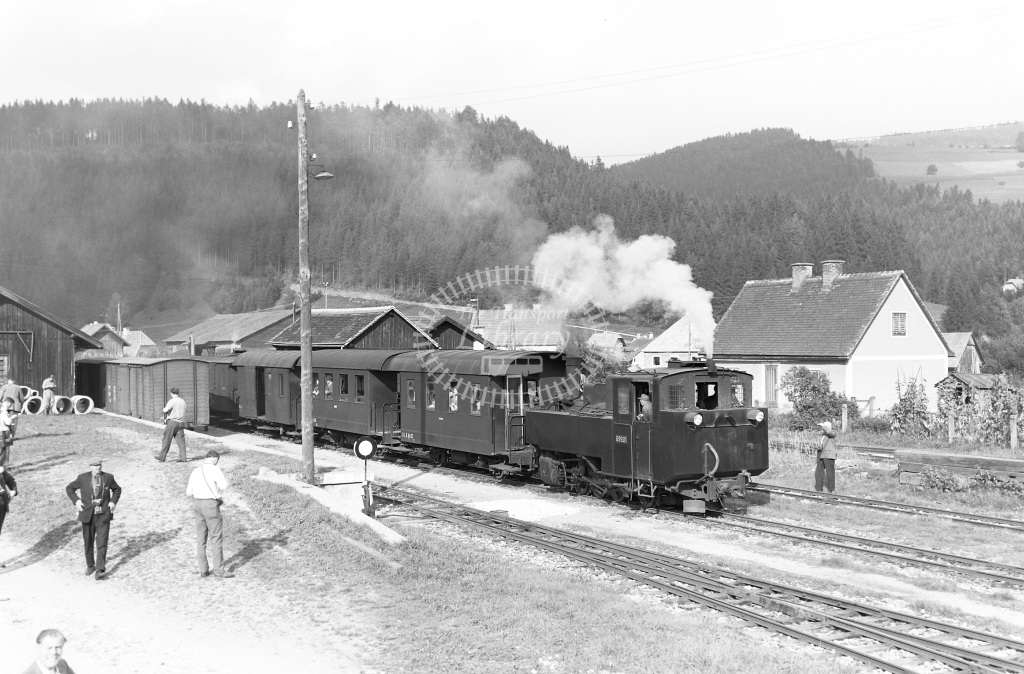 St. L.B. Steiermarkische Landesbahnen Steam Locomotive Class St. L.B. 0-8-0T 699.01  at Birkfeld  in 1963 -  03/09/1963  - Peter Gray