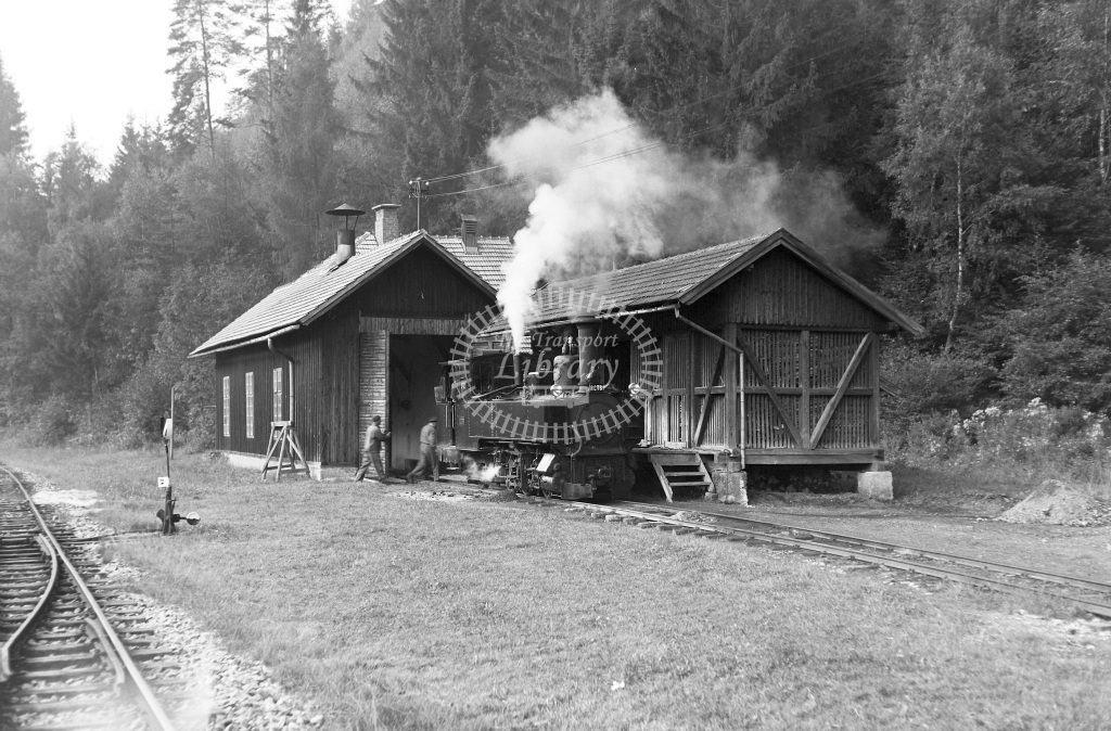 St. L.B. Steiermarkische Landesbahnen Steam Locomotive Class St. L.B. Krauss (5513/06) 0-6-2T S.12  at Bw. Birkfeld  in 1963 -  03/09/1963  - Peter Gray