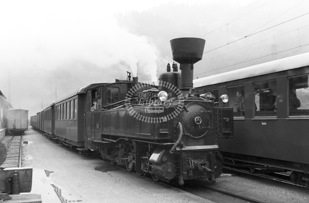 St. LB Railways of the State Styria (Murtalbahn) Steam Locomotive Class Krauss (Linz) 0-6-2T b. 1894 approx.   U7  at Unzmarkt  in 1963 -  05/09/1963  - Peter Gray