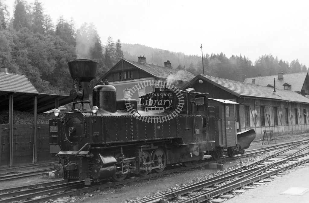 St. LB Railways of the State Styria (Murtalbahn) Steam Locomotive Class Krauss (Linz) 0-10-0T (1519/1930) KH111  at Murau-Stolzalpe  in 1963 -  05/09/1963  - Peter Gray