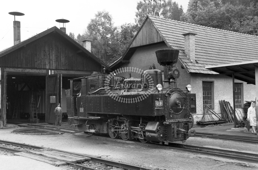 St. LB Railways of the State Styria (Murtalbahn) Steam Locomotive Class Krauss (Linz) 0-6-2T b. 1894 approx. U9 Murau  at Bw. Murau-Stolzalpe  in 1963 -  05/09/1963  - Peter Gray