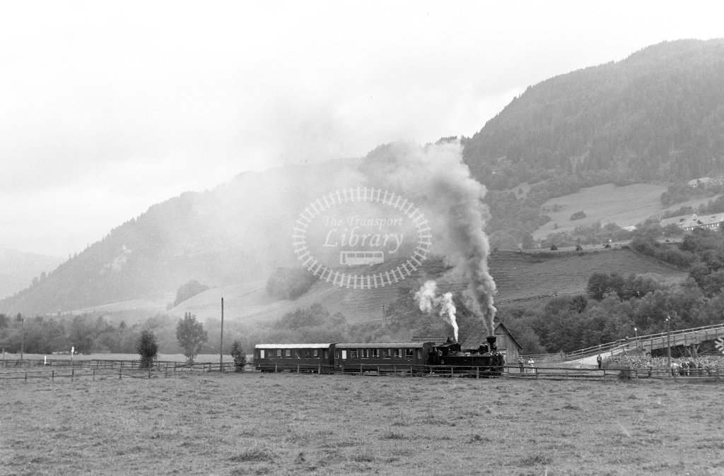 St. LB Railways of the State Styria (Murtalbahn) Steam Locomotive Class Krauss (Linz) 0-6-2T (3065/1894)  U11 Mauterndorf  at Murau-Stolzalpe - Unzmarkt  in 1963 -  05/09/1963  - Peter Gray