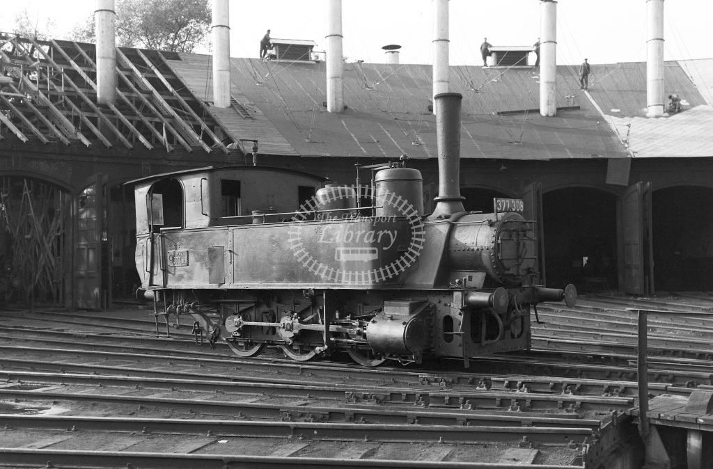 MAV Hungary Railways Steam Locomotive Class MAV Class 377 0-6-0T 377.306  at Bekescsaba MPD  in 1964 -  03/09/1964  - Peter Gray