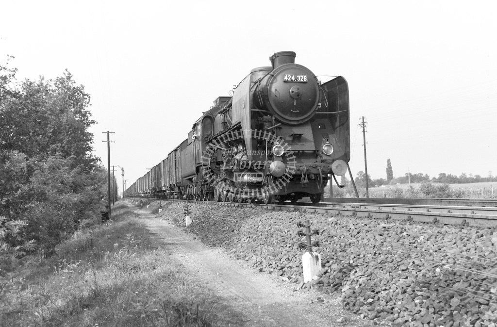 MAV Hungary Railways Steam Locomotive Class MAV Class 424 4-8-0 424.326  at Apafa nr. Debrecen  in 1964 -  04/09/1964  - Peter Gray