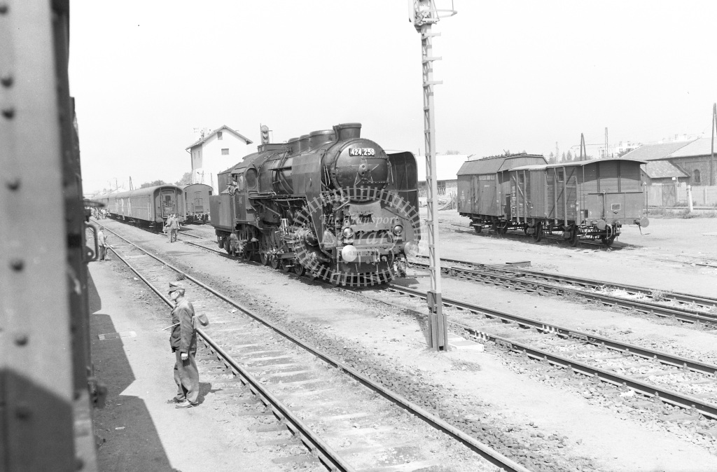 MAV Hungary Railways Steam Locomotive Class MAV Class 424 4-8-0 424.258  at Nyirgyhaza  in 1964 -  05/09/1964  - Peter Gray