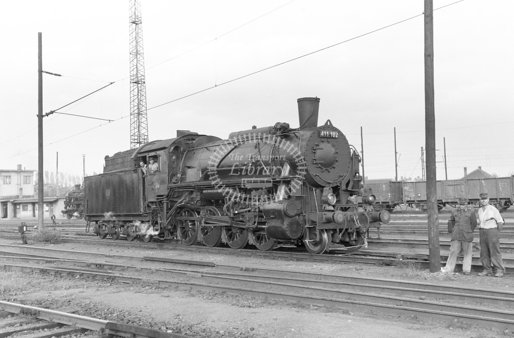 MAV Hungary Railways Steam Locomotive Class MAV Class 411 2-8-0 411.102  at Miscolc MPD  in 1964 -  06/09/1964  - Peter Gray