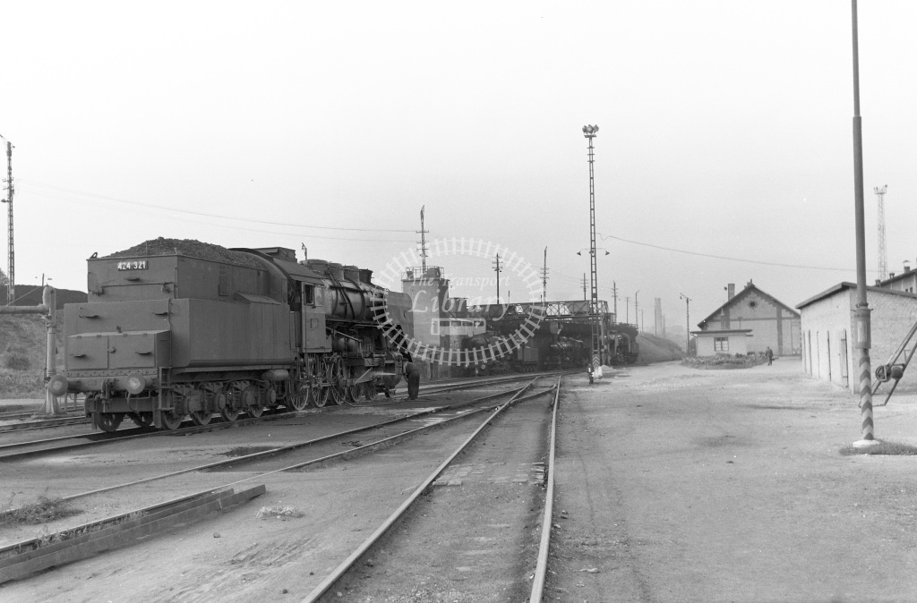 MAV Hungary Railways Steam Locomotive Class MAV Class 424 4-8-0 424.321  at Miscolc MPD  in 1964 -  06/09/1964  - Peter Gray