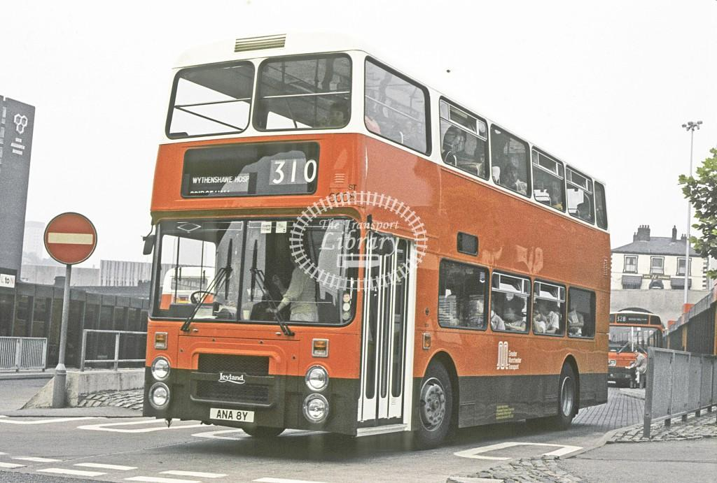 Greater Manchester PTE Leyland ONLXB 3008 ANA8Y at Stockport Bus Stn in 1983 - Jul 1983 - Peter Henson