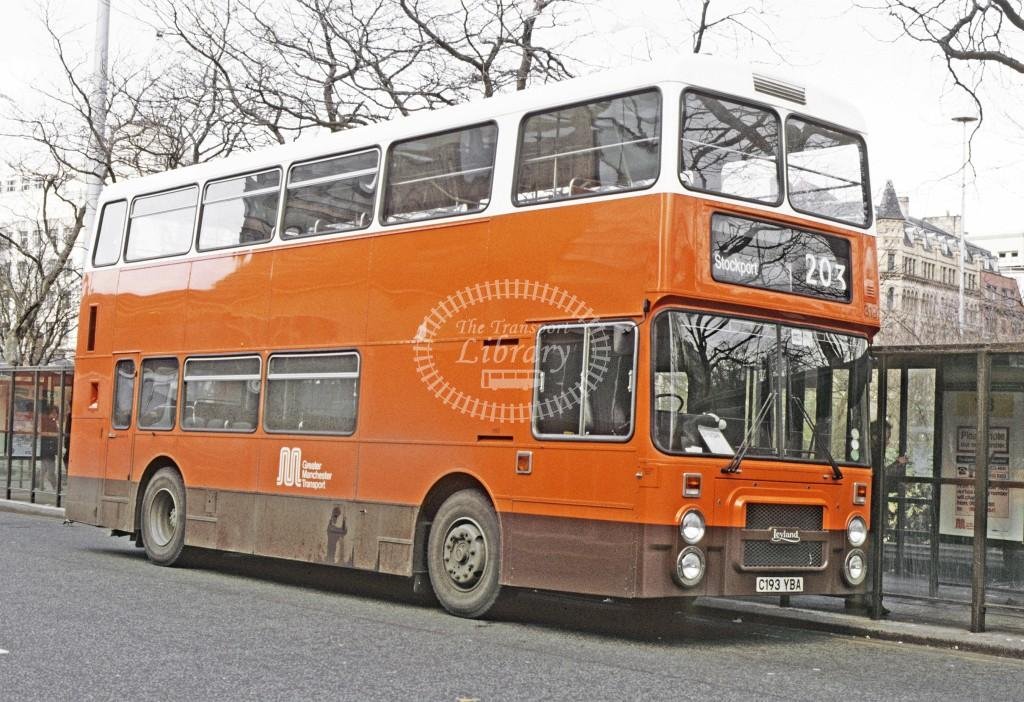 Greater Manchester PTE Leyland ONLXB 3193 C193YBA at Piccadilly in 1986 - Apr-86 - Peter Henson