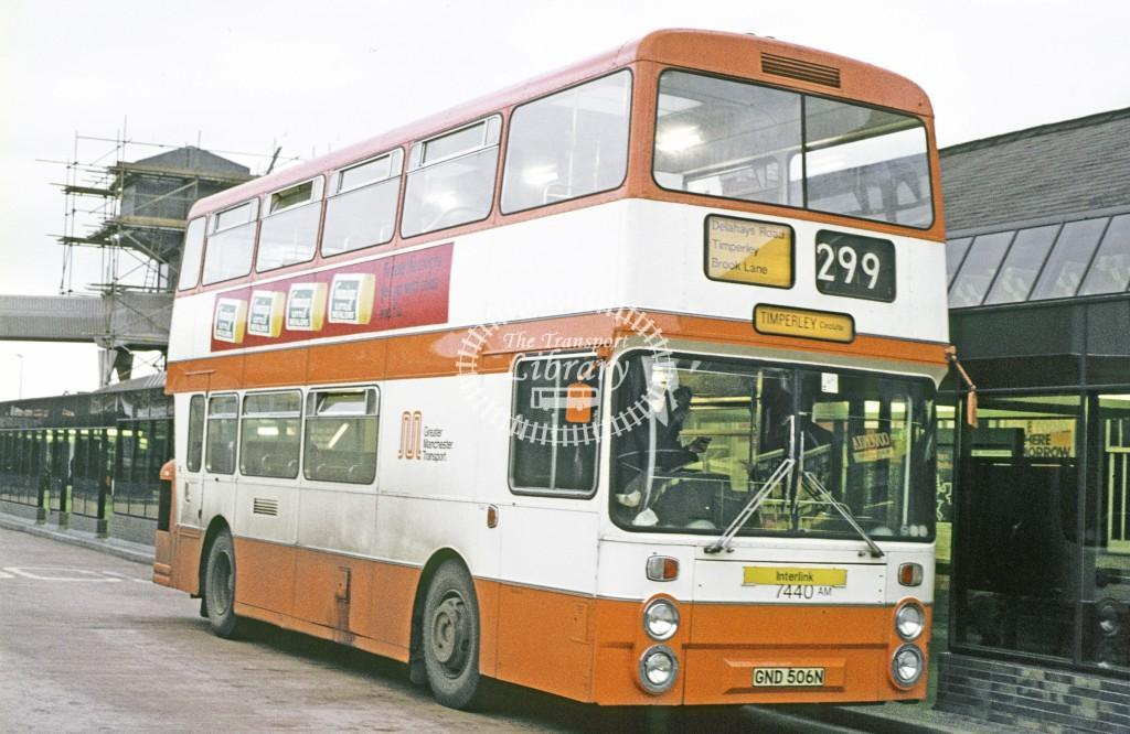 Greater Manchester PTE Daimler CRG6 7440 GND506N at Altringham Bus Stn in 1977 - Apr-77 - Peter Henson