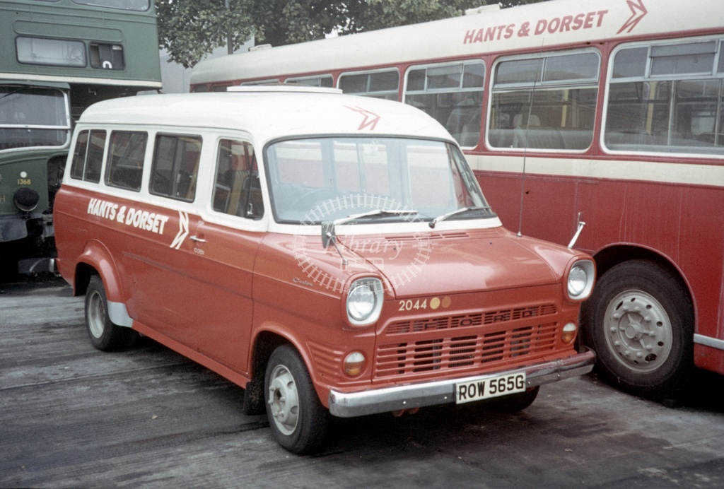 Hants and Dorset / Wilts and Dorset Ford Transit 2044 ROW565G at Salisbury Garage in 1973 - Peter Henson