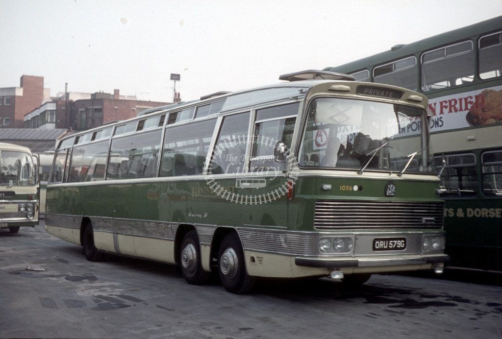 Hants and Dorset / Wilts and Dorset Bedford VAL70 1056 ORU579G at Bournemouth Bus Stn in 1973 - Peter Henson