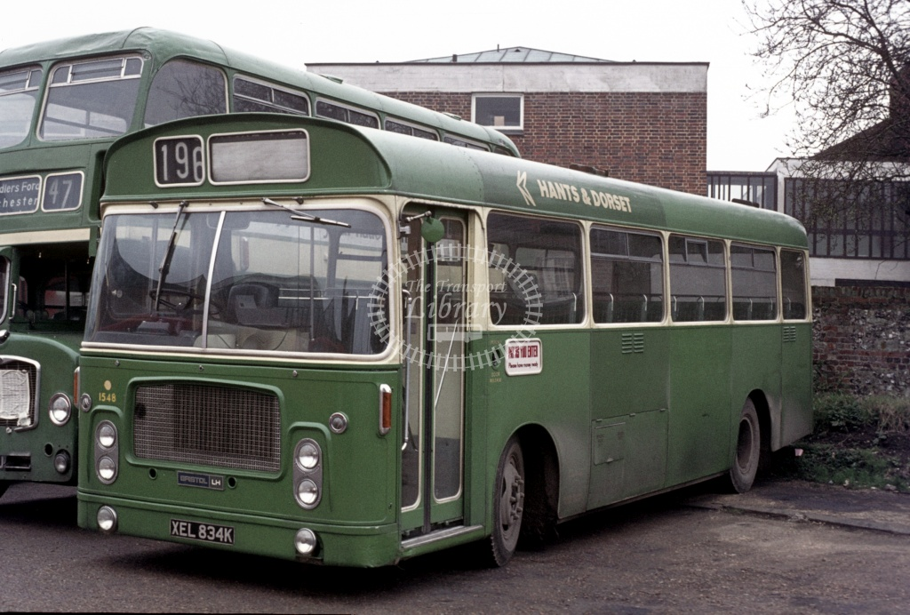 Hants and Dorset / Wilts and Dorset Bristol LH6L 1548 XEL834K at Winchester Garage in 1975 - 27454 - Peter Henson
