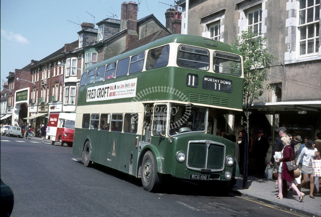 King Alfred AEC Bridgemaster WCG106 at Winchester  in 1971 - May 1971 - Peter Henson