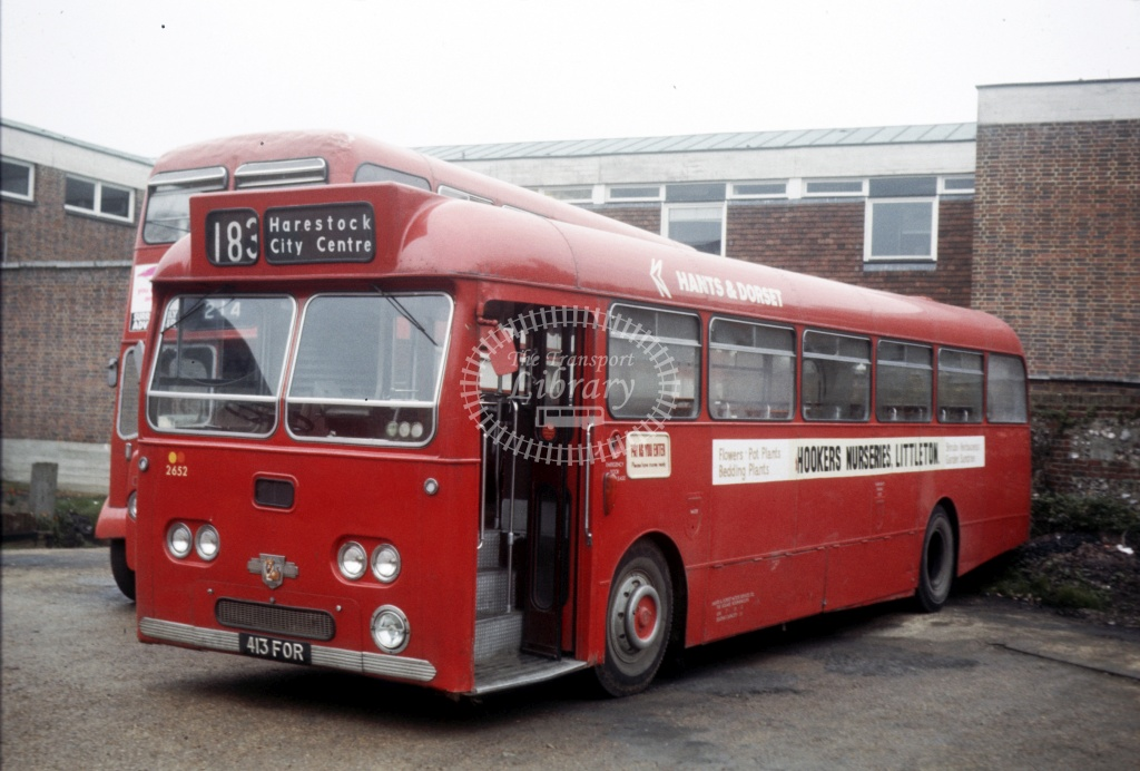 Hants and Dorset / Wilts and Dorset Leyland PSU3/2R 2652 413FOR at Winchester Garage in 1975 - 27454 - Peter Henson