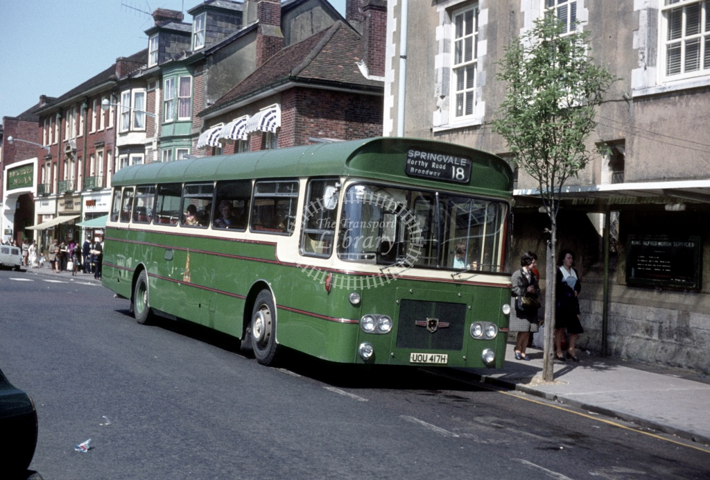 King Alfred Leyland PSUR1A/1 UOU417H at Winchester  in 1971 - May 1971 - Peter Henson