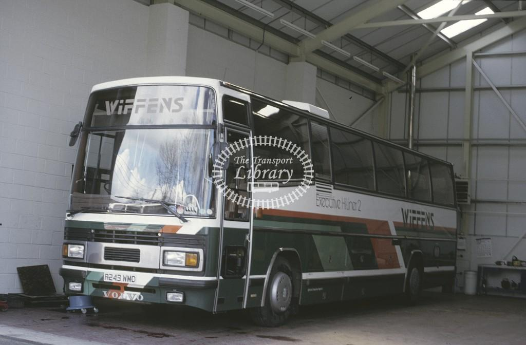 Wiffen Coaches Volvo B10M A243AMD at Finchingfield Garage in 1986 - Apr-86 - Peter Henson