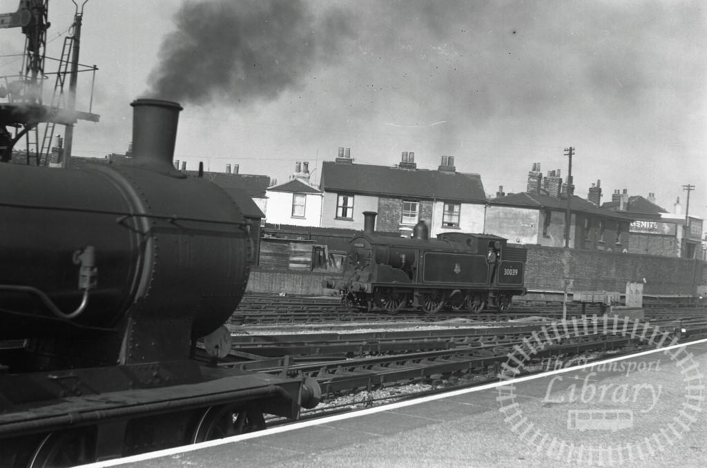 BR British Railways Steam Locomotive Class M7 30039  at Portsmouth Town in 1955 - 01/06/1955 - Peter Hay