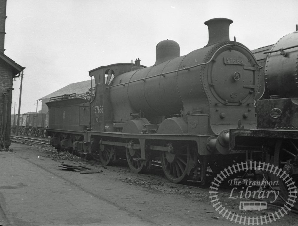 BR British Railways Steam Locomotive Class 3F-L 57686  at St. Rollox Shed in 1957 - 21/04/1957 - Peter Hay
