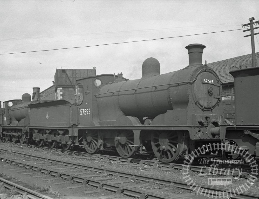 BR British Railways Steam Locomotive Class 3F-J 57593  at Motherwell Shed in 1960 - 31/04/1960 - Peter Hay
