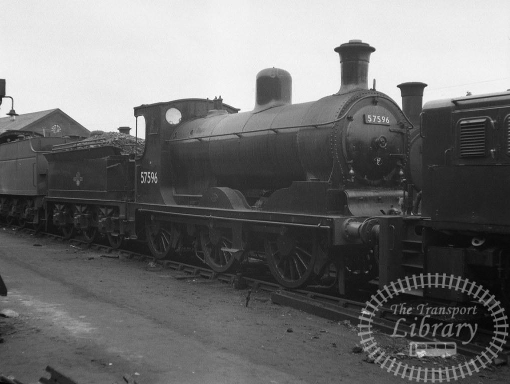 BR British Railways Steam Locomotive Class 3F-J 57596  at St. Rollox Shed in 1959 - 29/03/1959 - Peter Hay