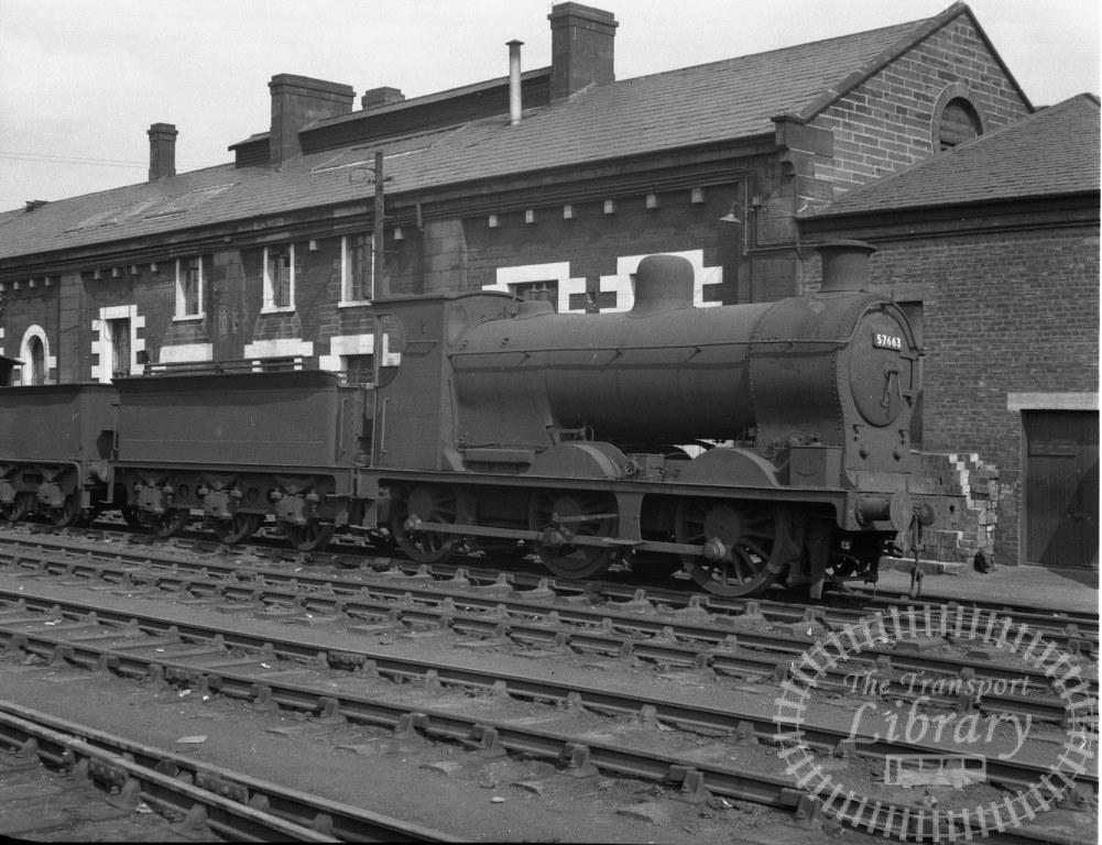 BR British Railways Steam Locomotive Class 3F-K 57663  at Motherwell Shed in 1960 - 01/05/1960 - Peter Hay