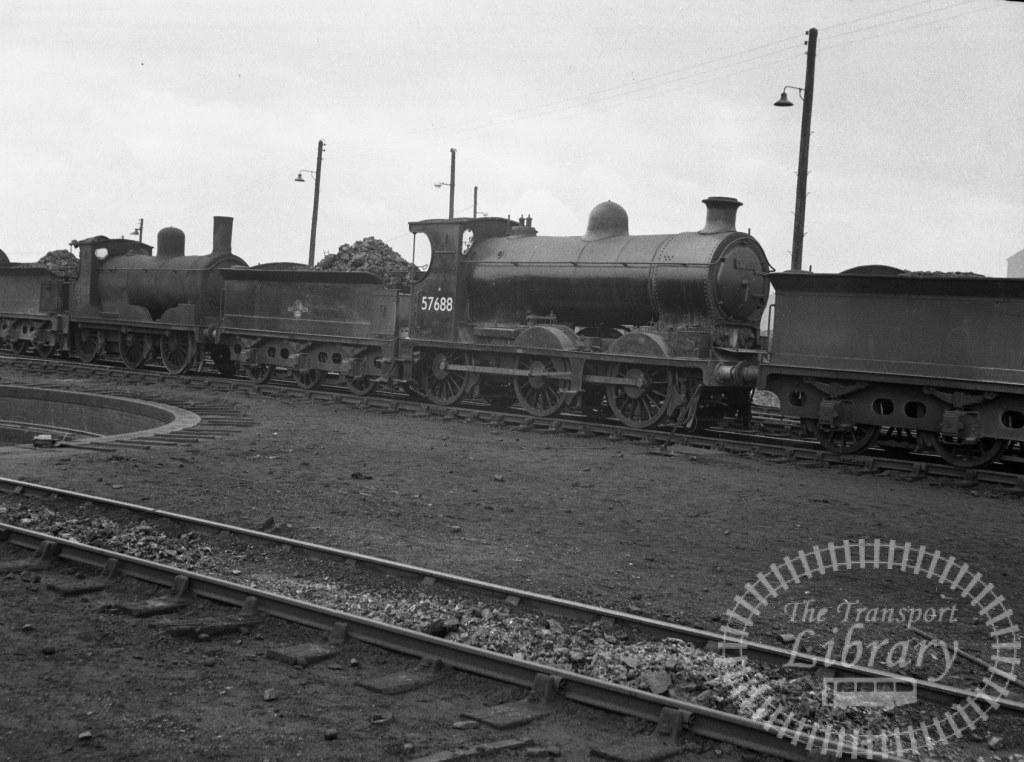BR British Railways Steam Locomotive Class 3F-L 57688  at St. Rollox Shed in 1958 - 06/04/1958 - Peter Hay