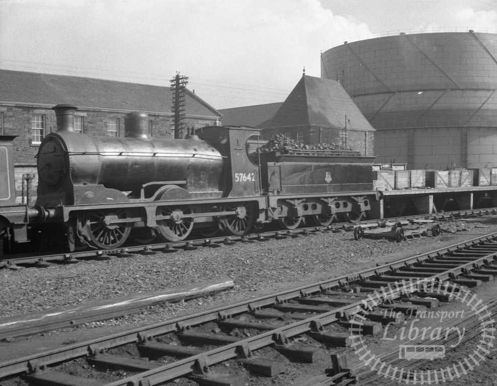 BR British Railways Steam Locomotive Class 3F-J 57642  at Stirling Shed in 1959 - 28/03/1959 - Peter Hay