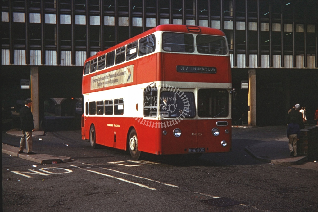 Yorkshire Traction Leyland Atlantean Weymann FOS 605 RHE806  at Doncaster  in 1973 -  20/5/1973  - P J Taplin