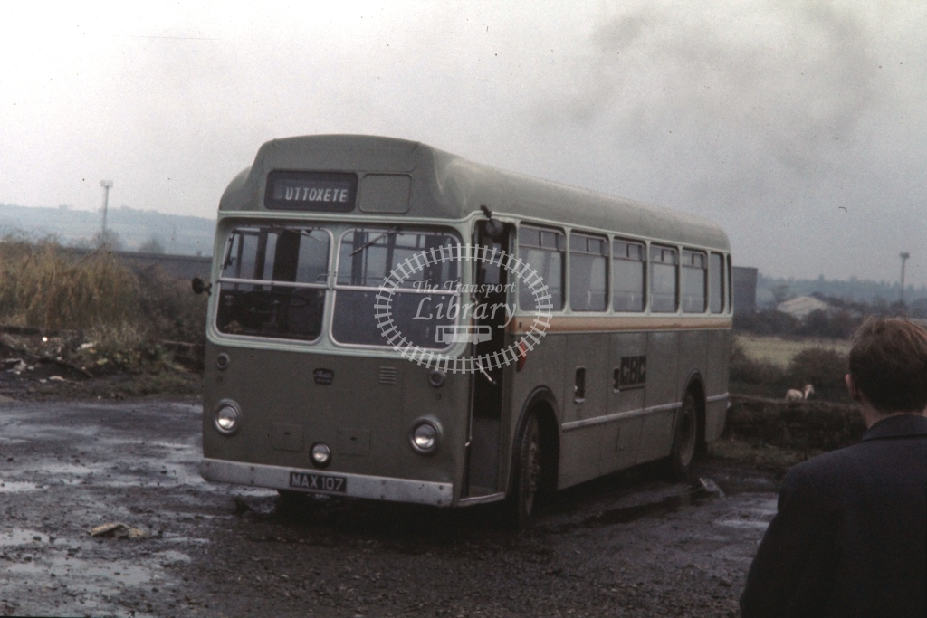 Green Bus, Rugeley Bristol LS ECW FNS 19 MAX107  at Rugeley  in 1973 -  4/11/1973  - P J Taplin