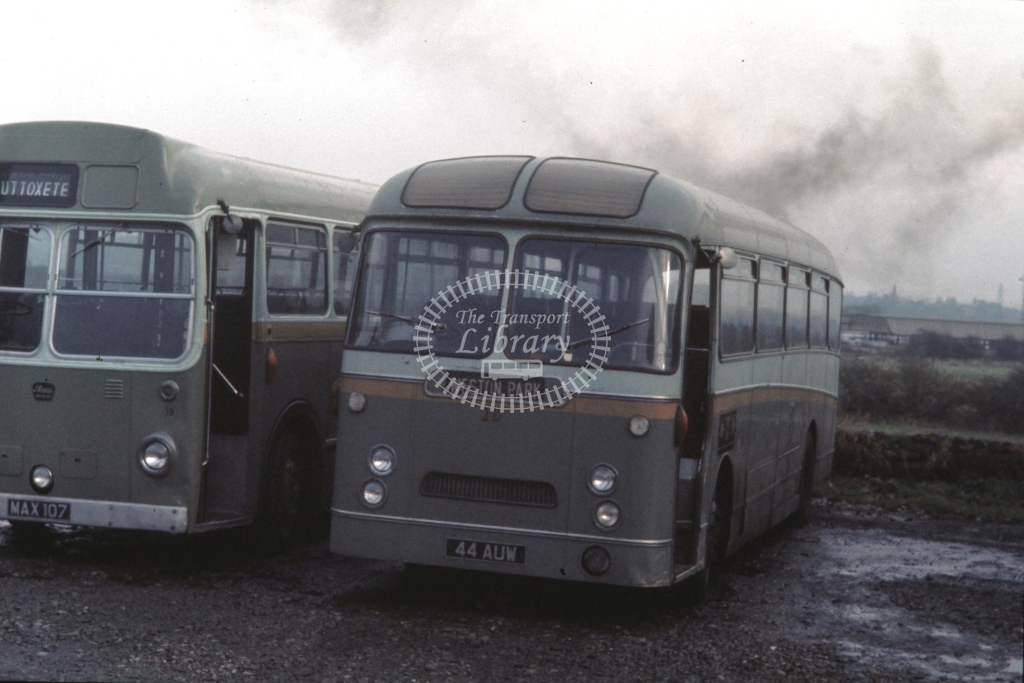 Green Bus, Rugeley AEC Reliance Willowbrook FNS 16 44AUW  at Rugeley  in 1973 -  4/11/1973  - P J Taplin