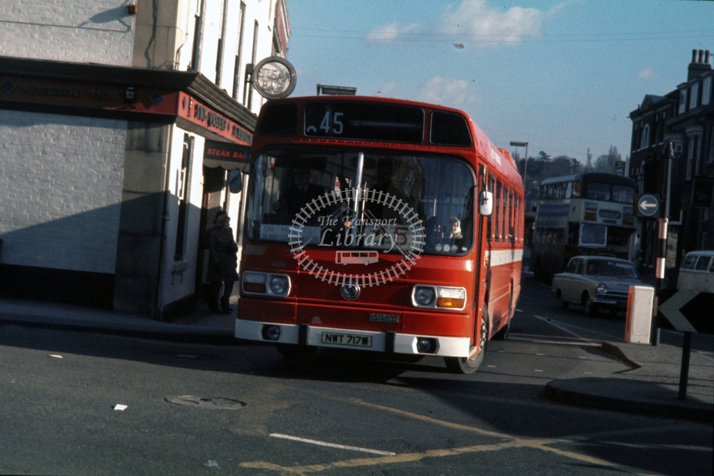 West Yorkshire Road Car Leyland National F 1420 NWT717M  at Burton  in 1974 -  5/2/1974  - P J Taplin