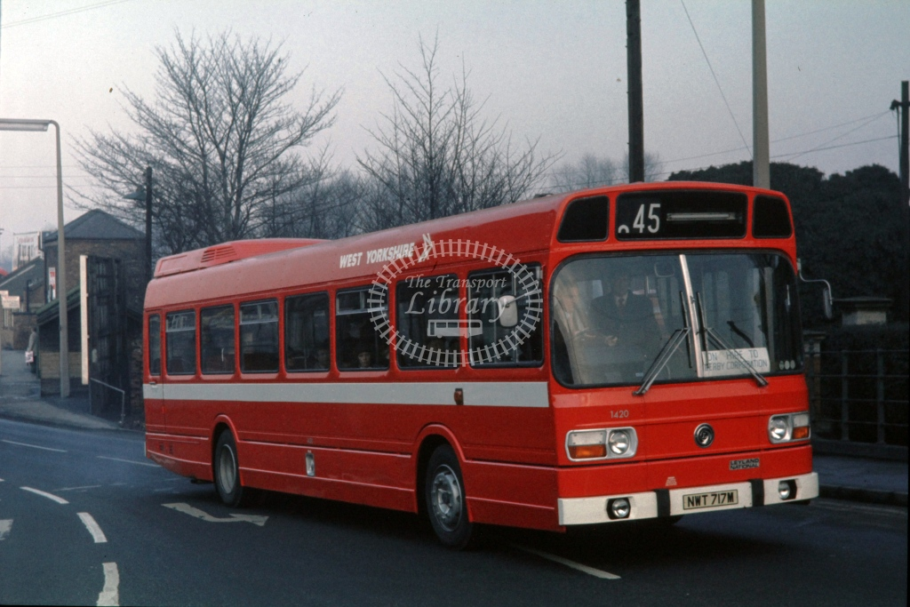 West Yorkshire Road Car Leyland National FOS 1420 NWT717M  at xxxx  in 1974 -  5/2/1974  - P J Taplin