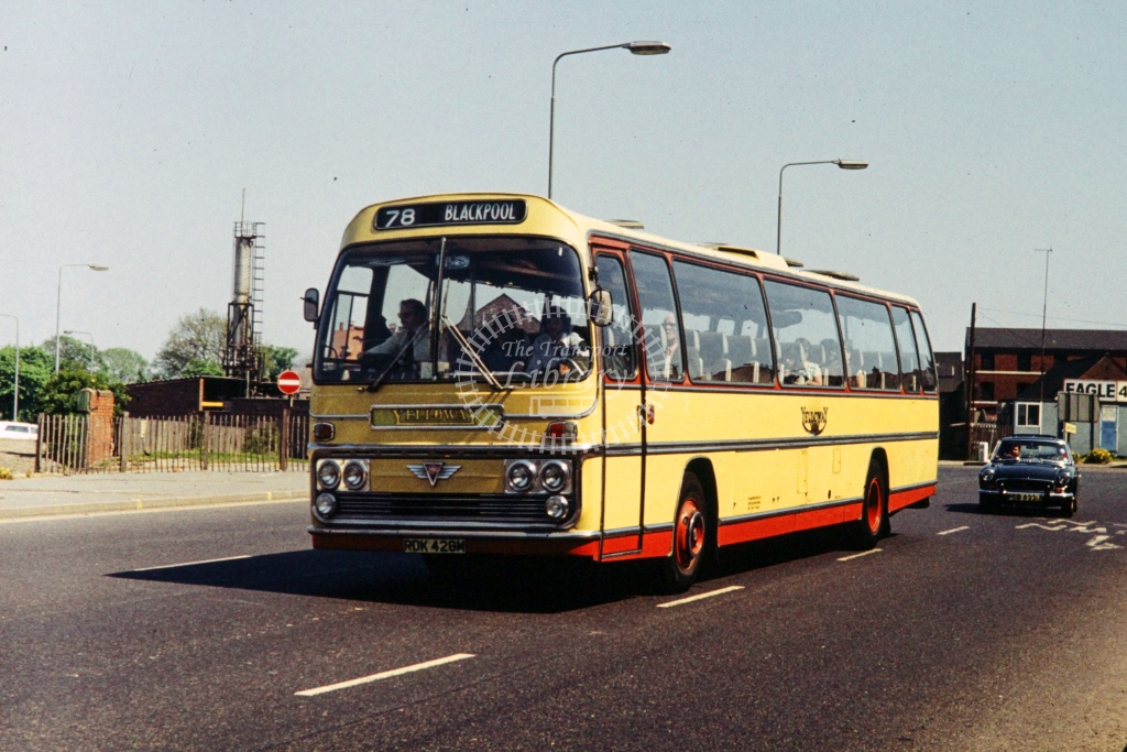 Yelloway, Rochdale AEC Reliance Plaxton FNS RDK428M  at Derby  in 1977 -  28273  - P J Taplin