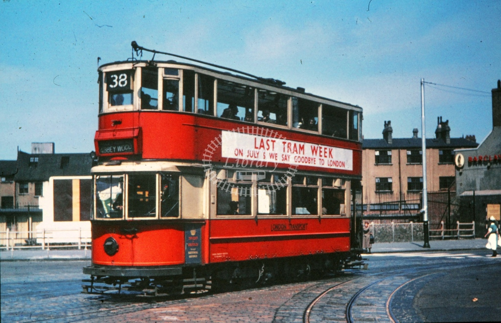 London Transport Tram/Strassenbahn 156  on route 38  in 1952 -  05/07/1952  - R E Vincent