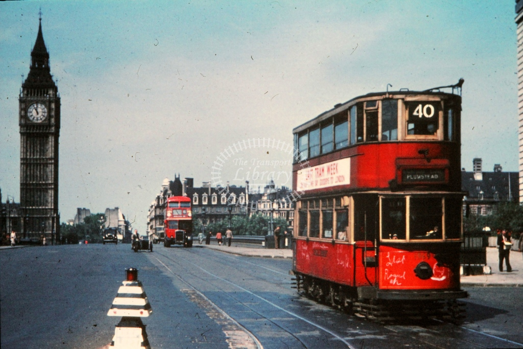 London Transport Tram/Strassenbahn 1969  on route 40  in 1952 -    - R E Vincent