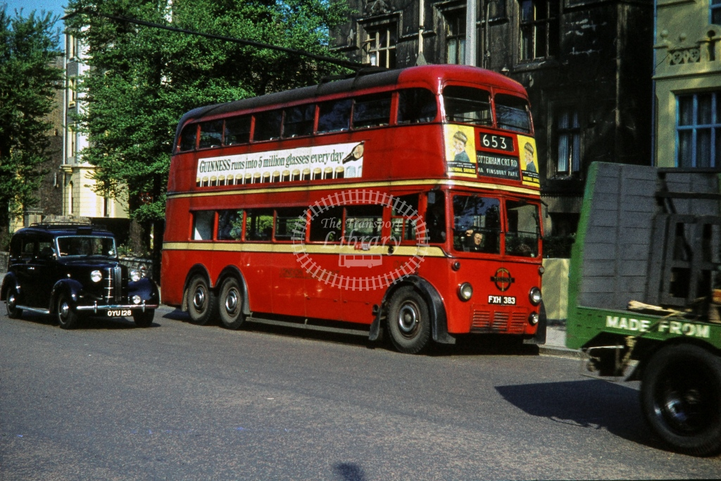London Transport AEC Trolleybus 1383  on route 653 FXH383  at Hampstead Road  in 1960 -  May - R E Vincent