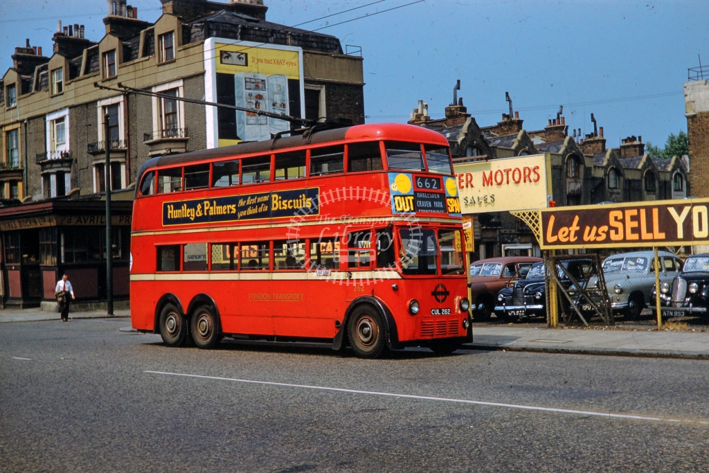 London Transport AEC 664T Trolleybus 262  on route 662 cul262  in c1960 -    - L Nicholson