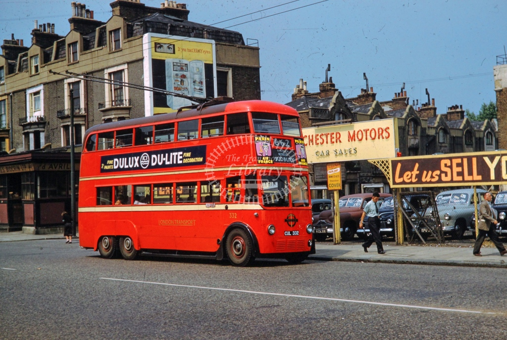 London Transport AEC 664T Trolleybus 332  on route 661 CUL332  in c1960 -    - L Nicholson