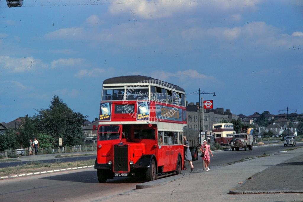 London Transport Guy Arab II Class G G320  on route 145 GYL460  at Woodford Avenue  in 1949 -  26/07/1949  - R E Vincent