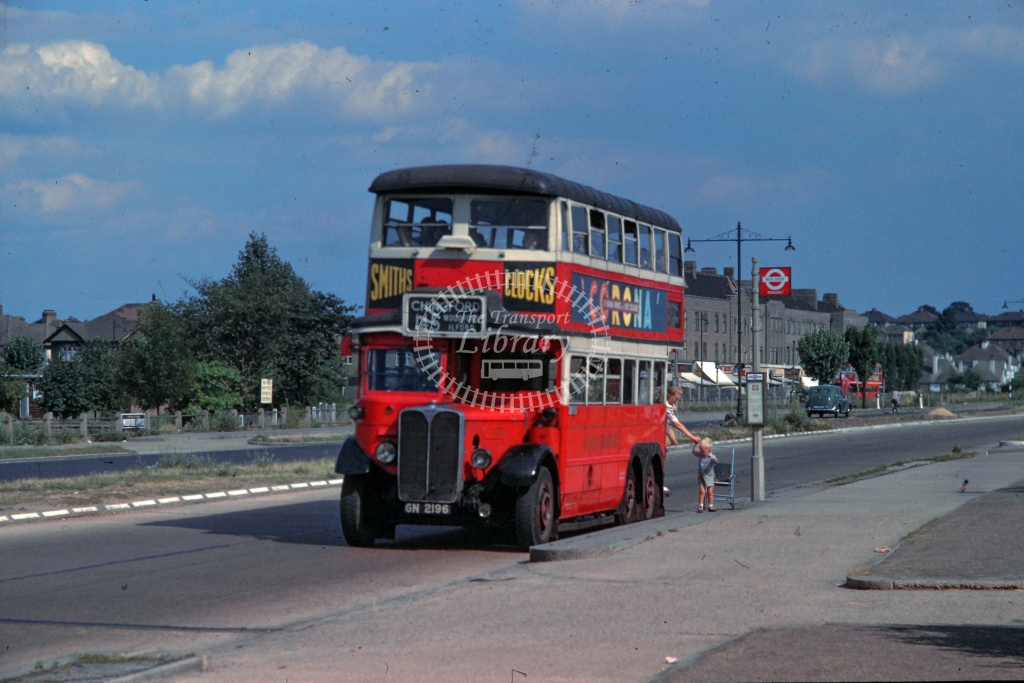 London Transport Leyland Titan Class LT  on route 145 GN2196  at Woodford Avenue  in 1949 -  26/07/1949  - R E Vincent