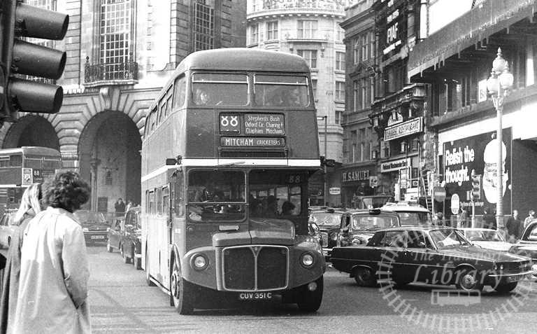 London Transport AEC Routemaster Class RML RML2351 CUV351C at Picadilly Circus in 1980 on route 88 - Russell Fell