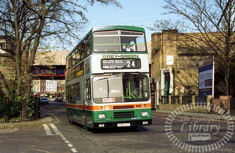 Grey Green Volvo B10M 145 G145TYT at Camden Town in 1992 on route 24 - Russell Fell