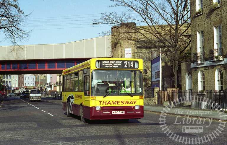 Thamesway Dennis Dart 910 K910CVW at Camden Town in 1992 on route 214 - Russell Fell