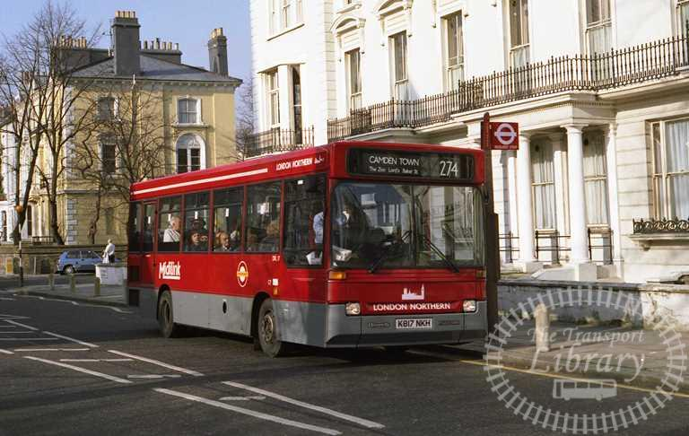 London Transport London Northern Dennis Dart Class DRL DRL17 K817NKH at Primrose Hill in 1993 on route 274 - Russell Fell