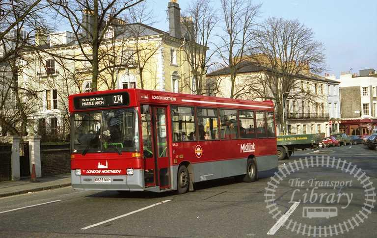 London Transport London Northern Dennis Dart Class DRL DRL25 K825NKH at Primrose Hill in 1993 on route 274 - Russell Fell