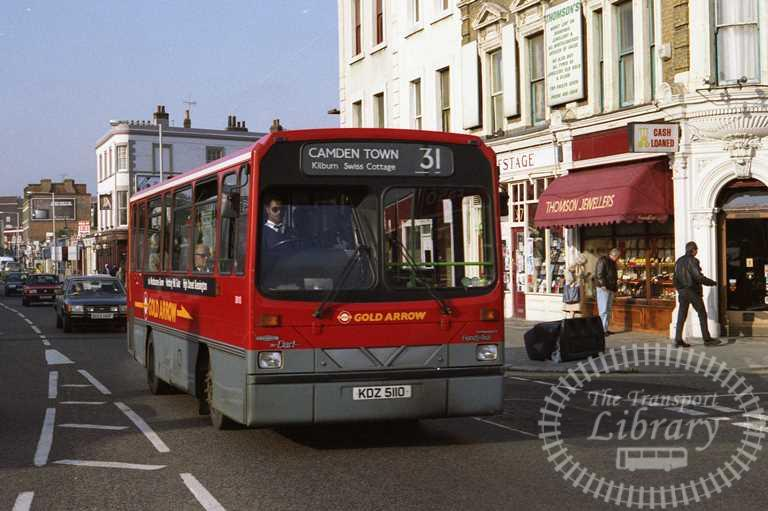 London Transport Centrewest Dennis Dart Class DW DW110 KDZ5110 at Camden Town in 1993 on route 31 - Russell Fell